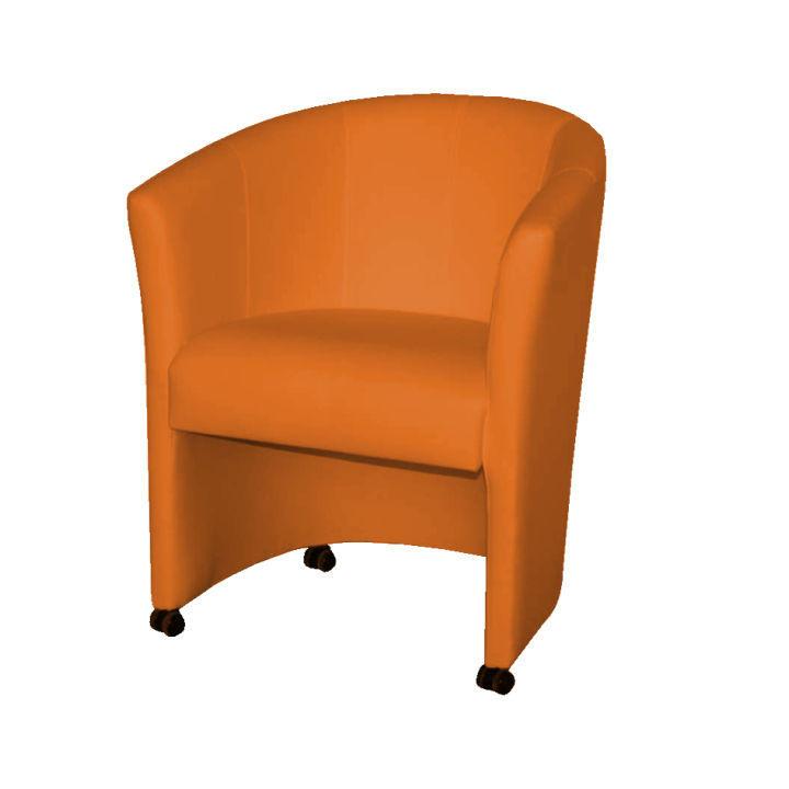 Kreslo, ekokoža oranžová, na bielom pozadí, ELIZA