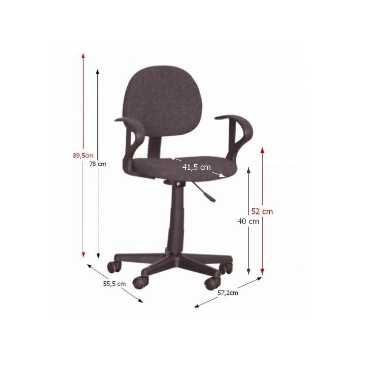 Kancelárska stolička, čierna, TC3-227, s rozmermi