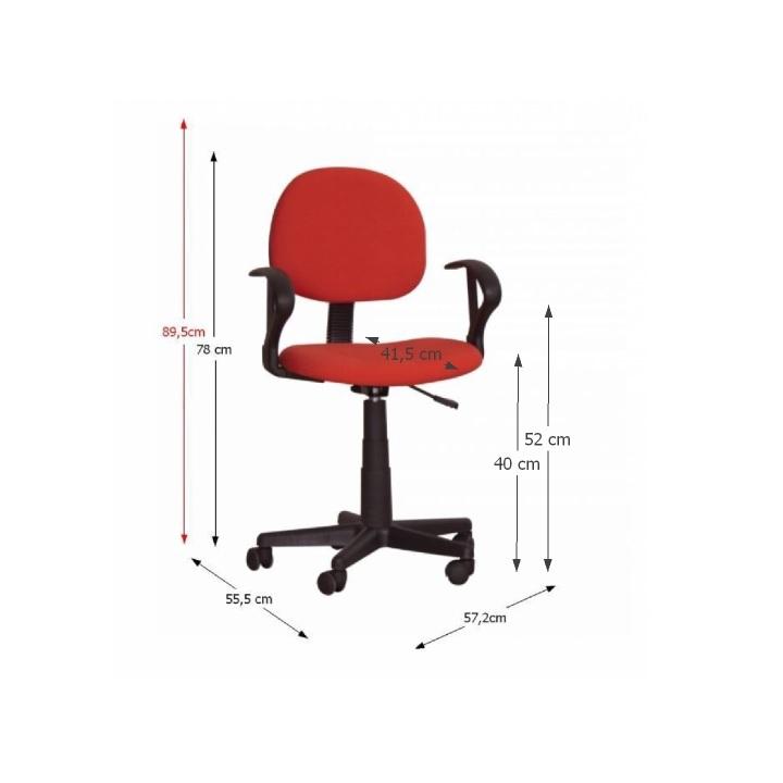 Kancelárska stolička, červená, TC3-227, s rozmermi