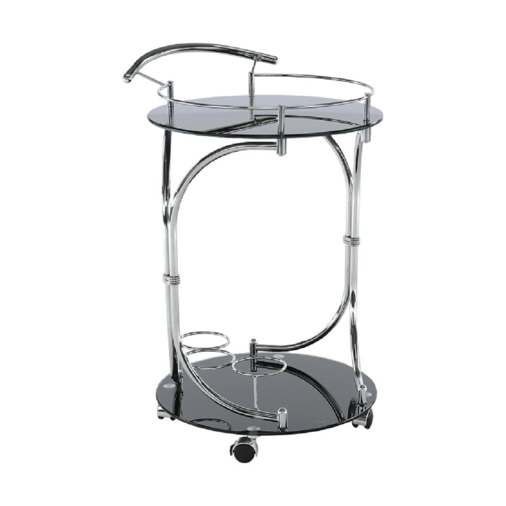 Servírovací stolík, čierne sklo/chróm, VESNA