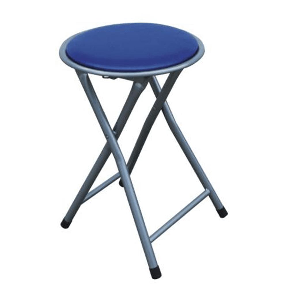 Szék, összecsukható , fém-ezüst + kék textilbőr, IRMA