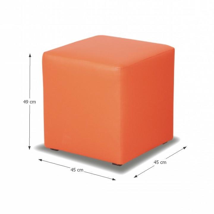 Taburet, ekokoža oranžová, s rozmermi, KUBIK