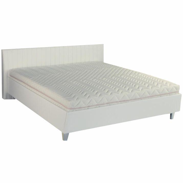 Manželská posteľ, ekokoža biela, 160x200, DREAM