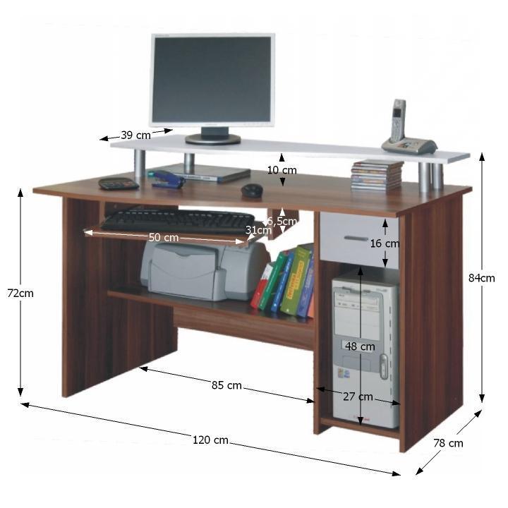 PC stolík, slivka/biela, PLUTO, s rozmermi