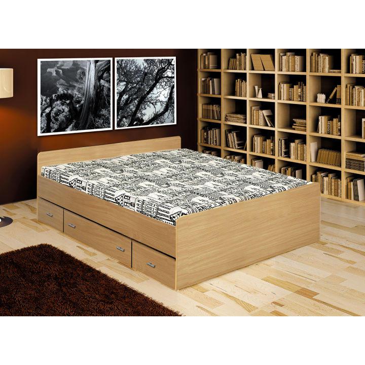 Posteľ so zásuvkami, buk, 140x200, interiérová fotka, DUET 80262