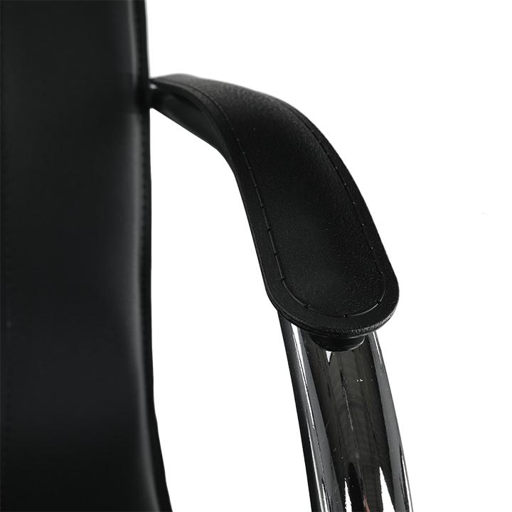 Stolička, ekokoža čierna, MI-01, detail na opierku rúk