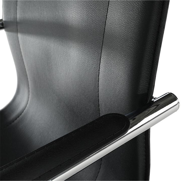 Stolička, ekokoža čierna, MI-01, detail na operadlo
