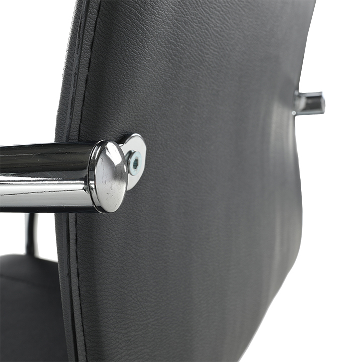 Stolička, ekokoža čierna, MI-01, detail na operadlo zo zadu