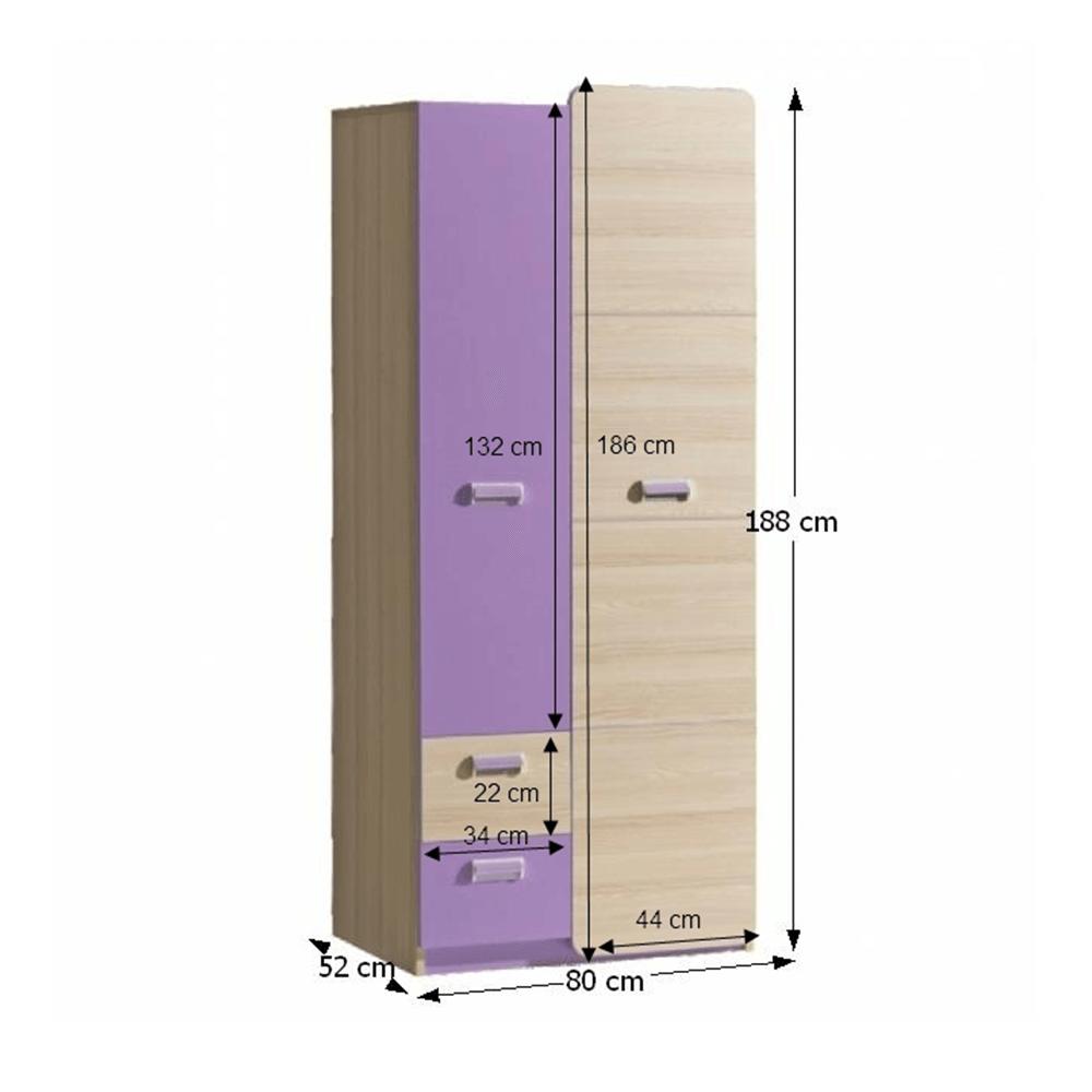 Dulap de haine, frasin/violet, EGO L1