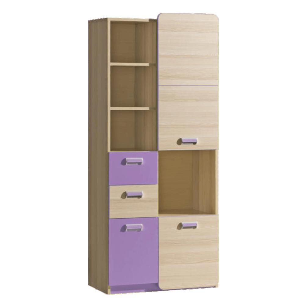 Kombinált szekrény, kőrisfa/ibolyakék, EGO L7