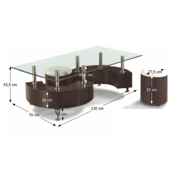 Konferenčný stolík, 2 taburetky, ekokoža biela/orech, OTELO - rozmer
