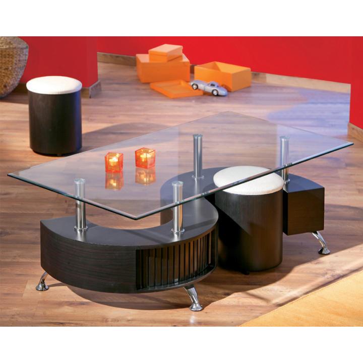 Konferenčný stolík, 2 taburetky, ekokoža biela/orech, OTELO - interiér