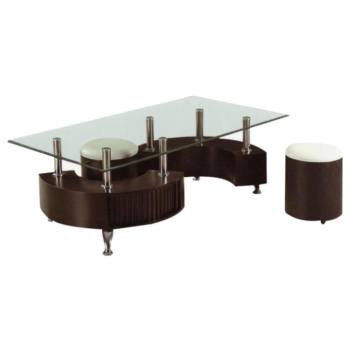 Konferenčný stolík, 2 taburetky, ekokoža biela/orech, OTELO