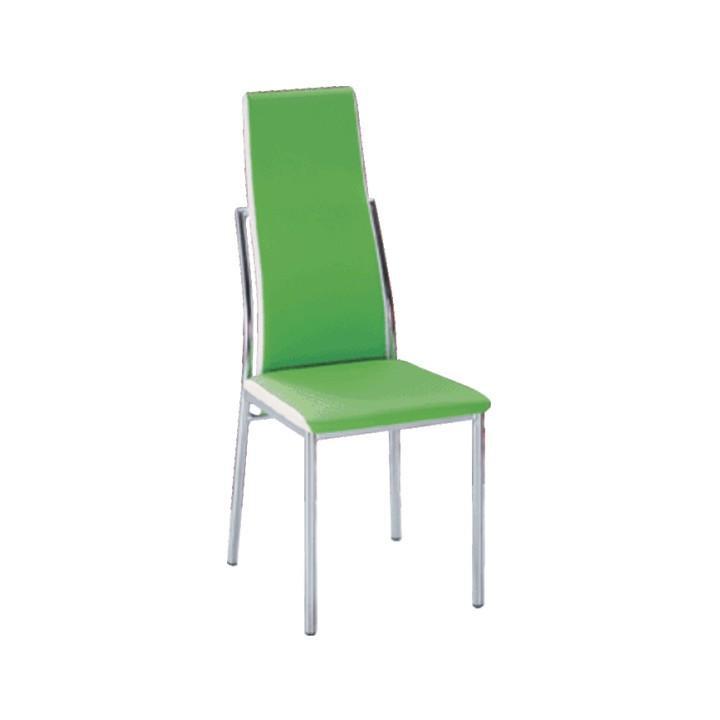 Jedálenská stolička, ekokoža zelená, biela/chróm, ZORA