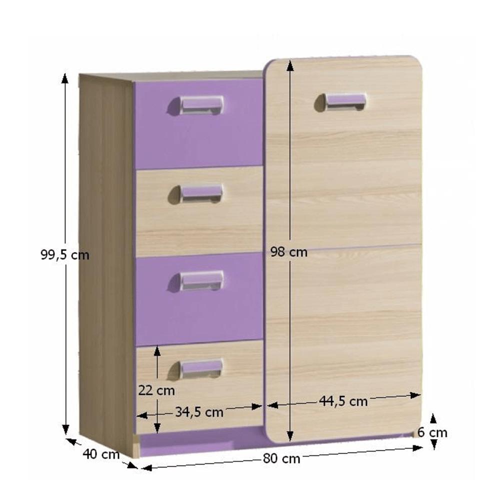 4 fiókos komód ajtóval, kőrisfa/ibolyakék, EGO L6