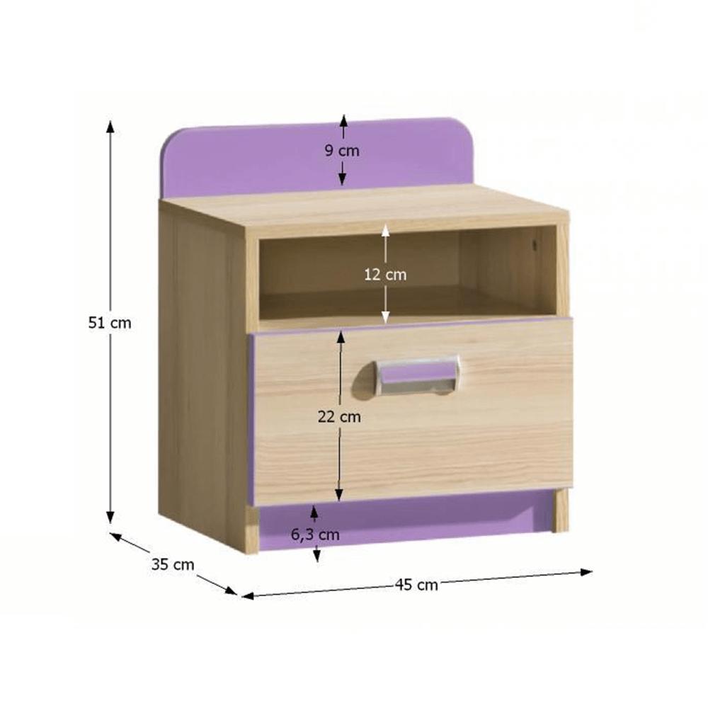 Noptieră, frasin/violet, EGO L12