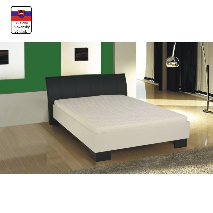 Manželská posteľ, ekokoža čierna/biele lamino, 180x200, TALIA, interiér