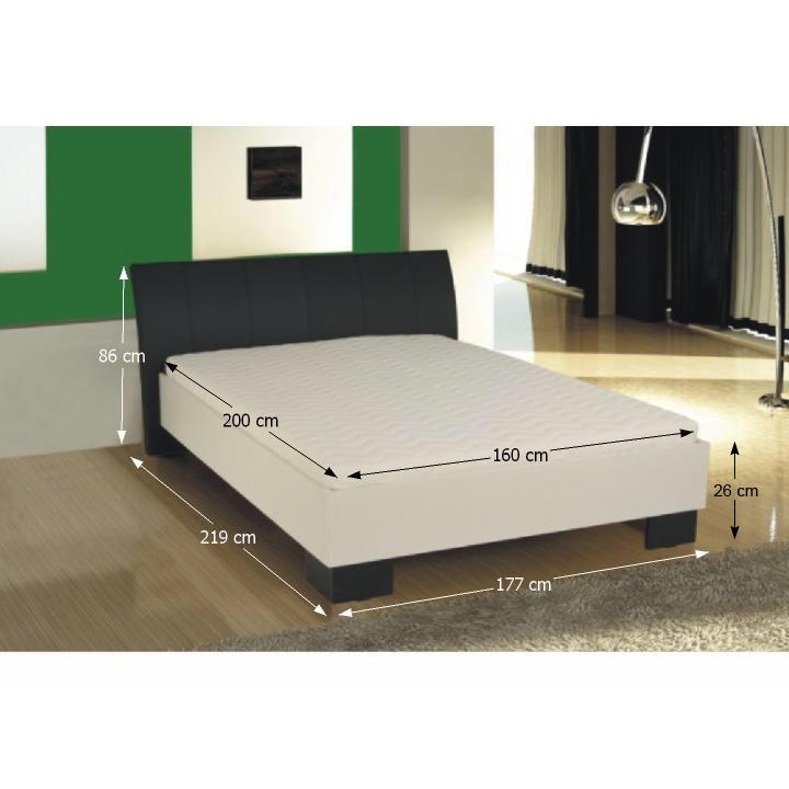 Manželská posteľ, ekokoža čierna/biele lamino, 180x200, TALIA, s rozmermi