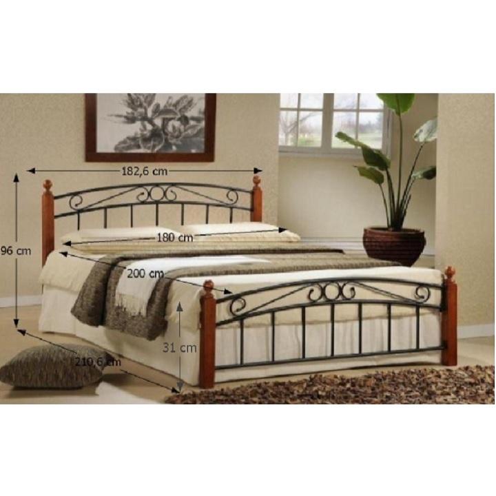 Manželská posteľ, drevo čerešňa/čierny kov, 180x200, a rozmermi, DOLORES