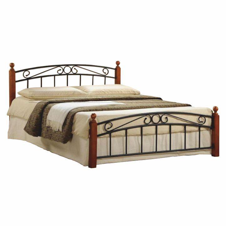 Manželská posteľ, drevo čerešňa/čierny kov, 180x200, DOLORES