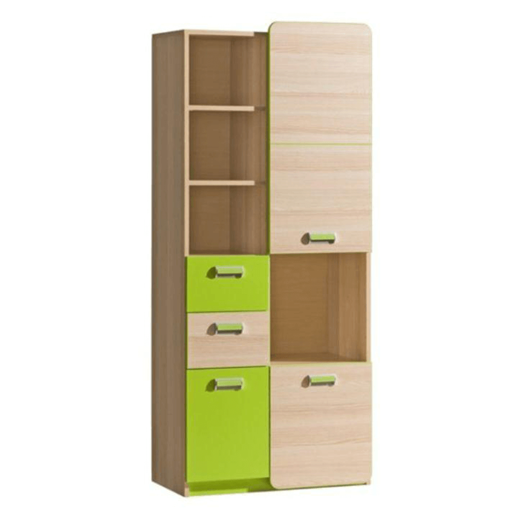Kombinált szekrény, kőrisfa/zöld, EGO L7