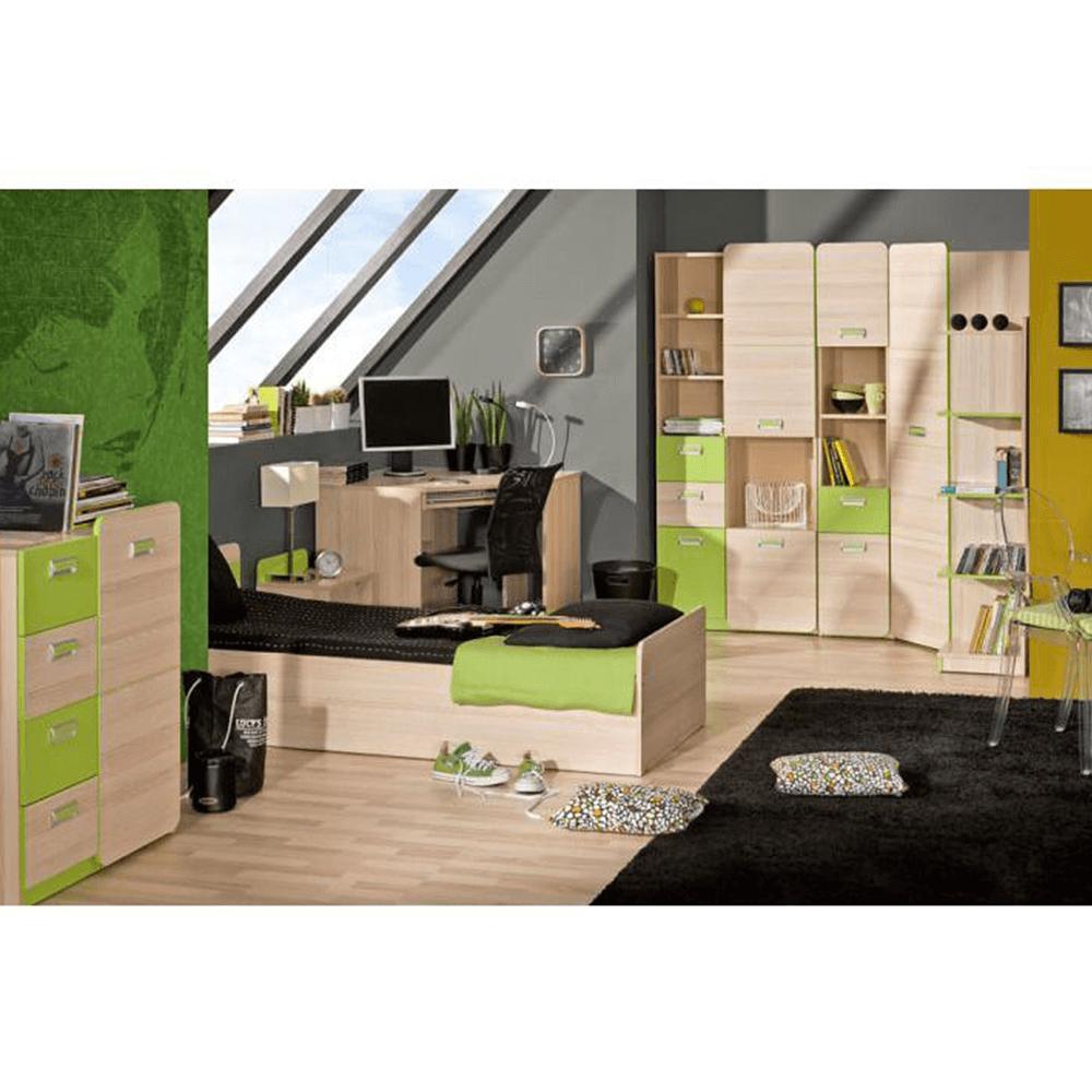 Sarokszekrény, kőrisfa/zöld, EGO L14