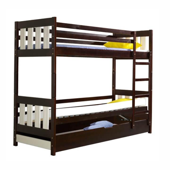 Poschodová posteľ, prírodné drevo, orech/biela, 190x80 cm, KACPER