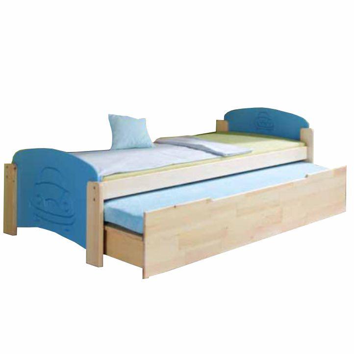 Posteľ, sosna/modrá, 200x90, na bielom pozadí, JAS 2