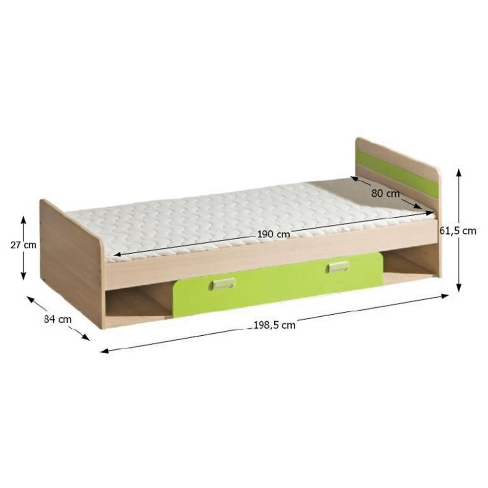 Pat complet, frasin/verde, 80x190, EGO L13
