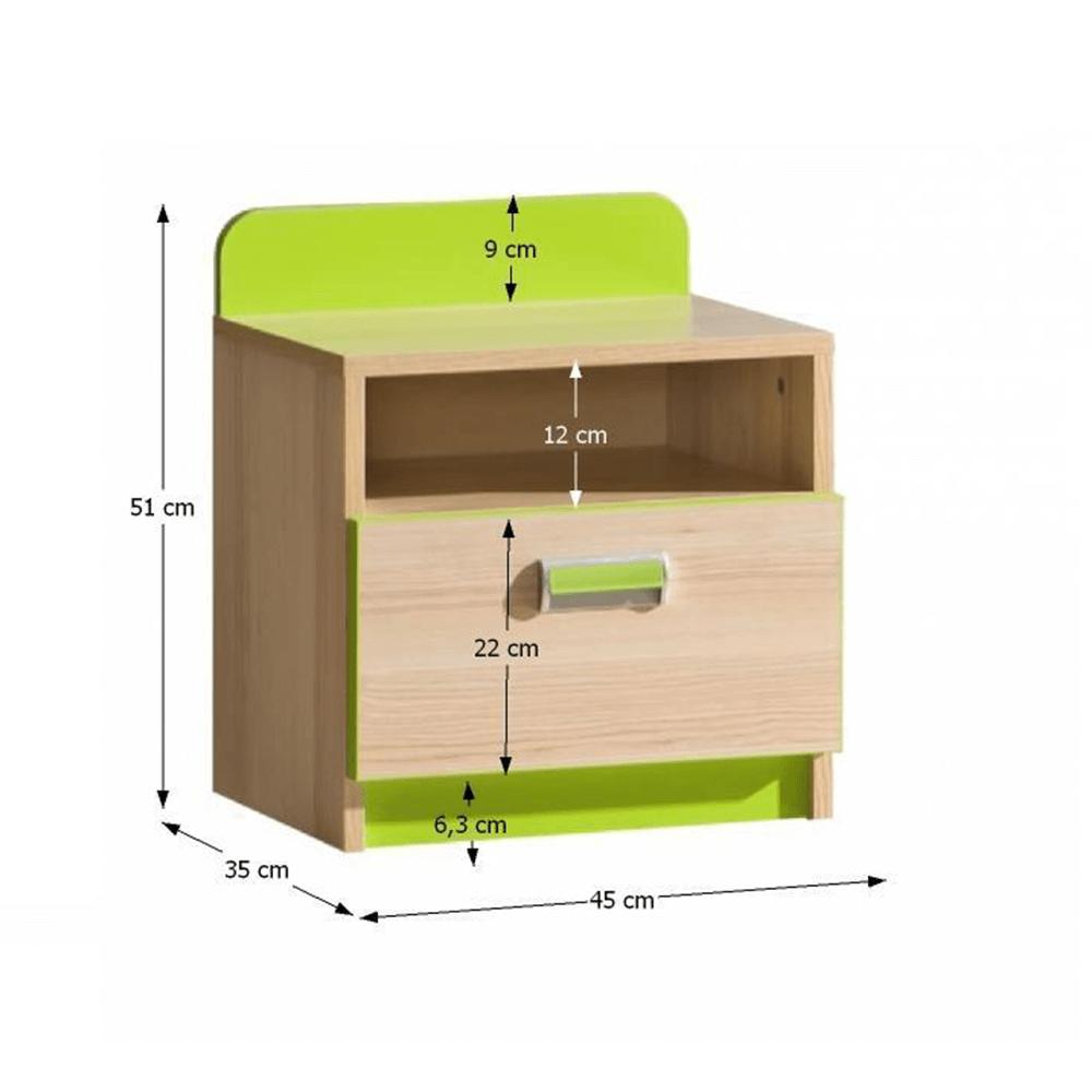 Noptieră, frasin/verde, EGO L12