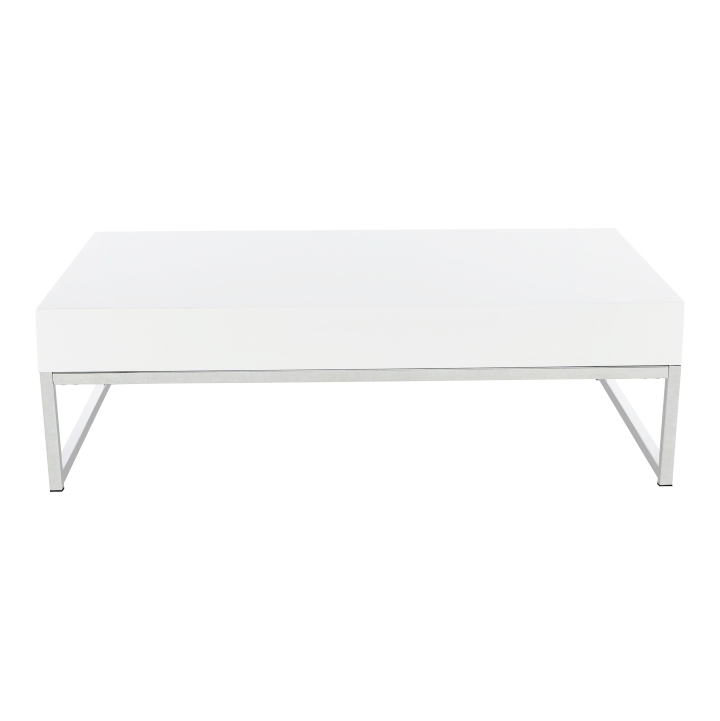 Konferenčný stolík, biela extra vysoký lesk HG, LOTTI, pohľad z predu