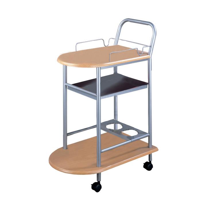 Servírovací stolík, buk/strieborný, na bielom pozadí, LIMA
