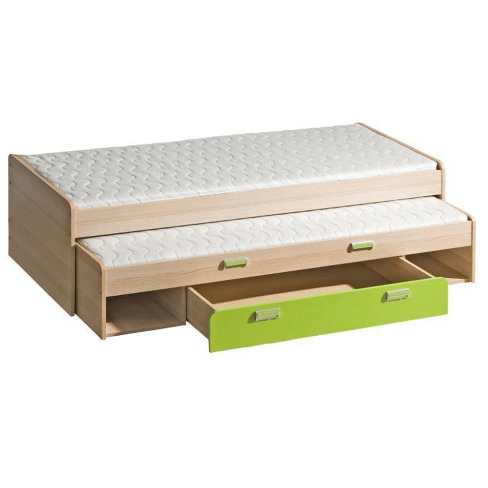 Pat, cu un pat suplimentar, frasin/verde, 200x80, EGO L16
