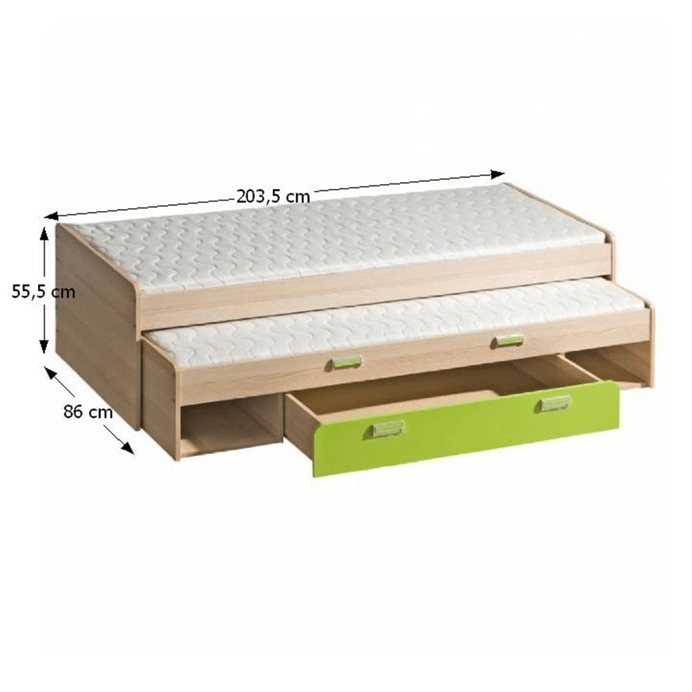 Ágy pótággyal, 200x80, kőrisfa/zöld, EGO L16