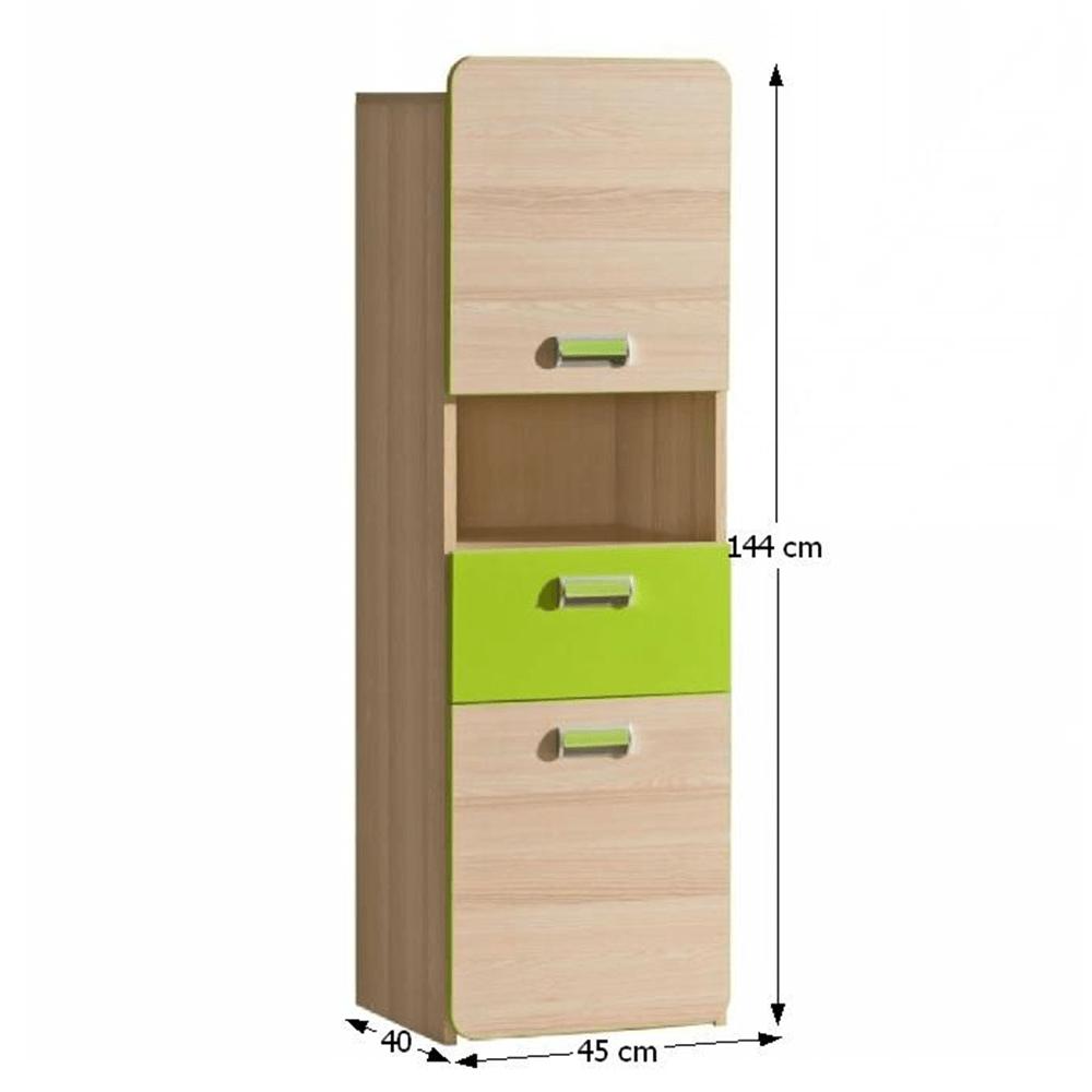 Szekrény, kőrisfa/zöld, EGO L4