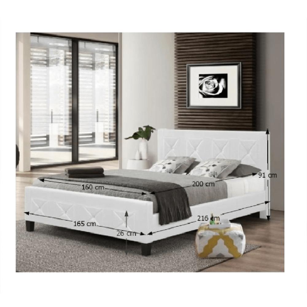 Dupla ágy ágyráccsal, textilbőr fehér, 160x200, CARISA