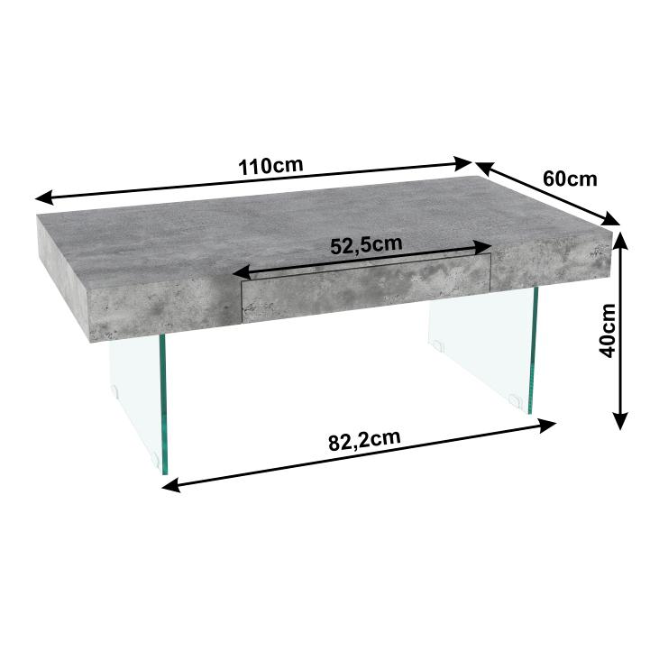 Konferenčný stolík so zásuvkou, betón, DAISY NEW, s rozmermi