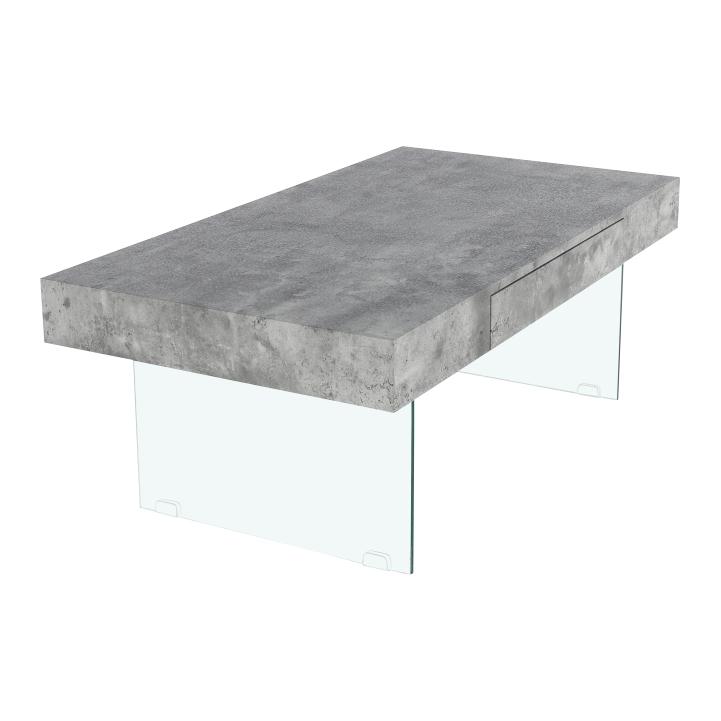 Konferenčný stolík so zásuvkou, betón, DAISY NEW, pohľad z predu