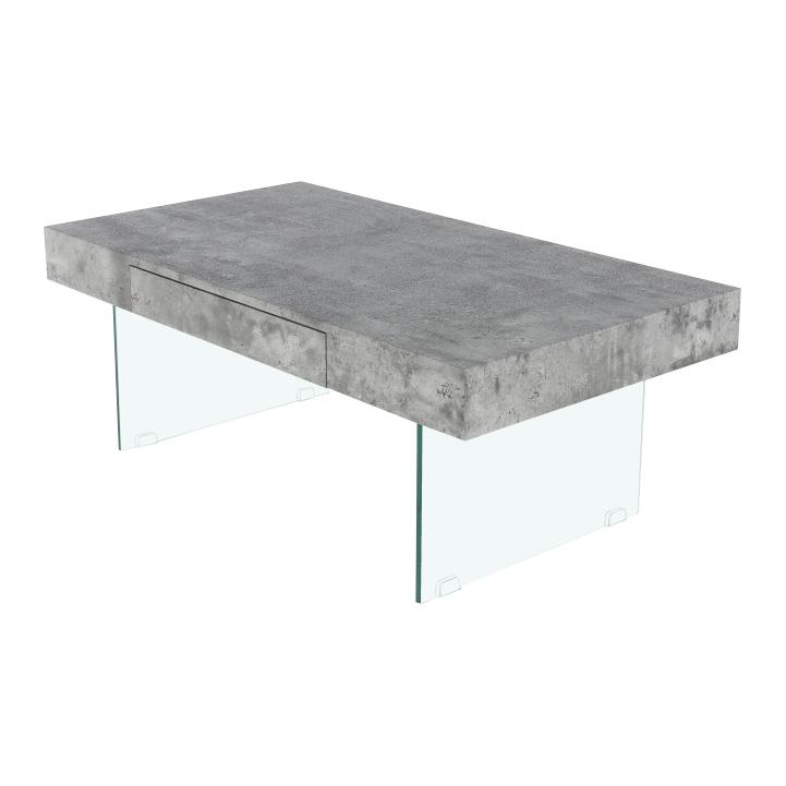 Konferenčný stolík so zásuvkou, betón, DAISY NEW, detail z boku