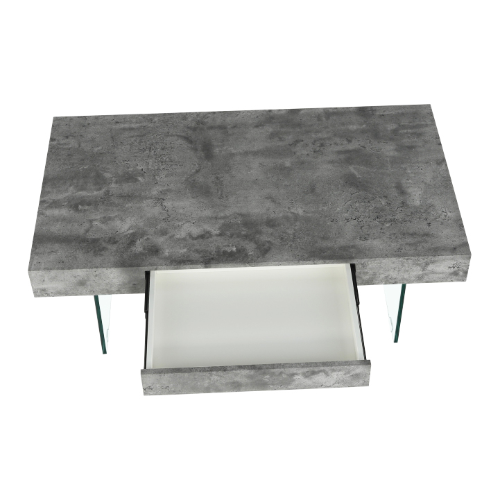 Konferenčný stolík so zásuvkou, betón, DAISY NEW, detail z hora s otvoreným šuflíkom