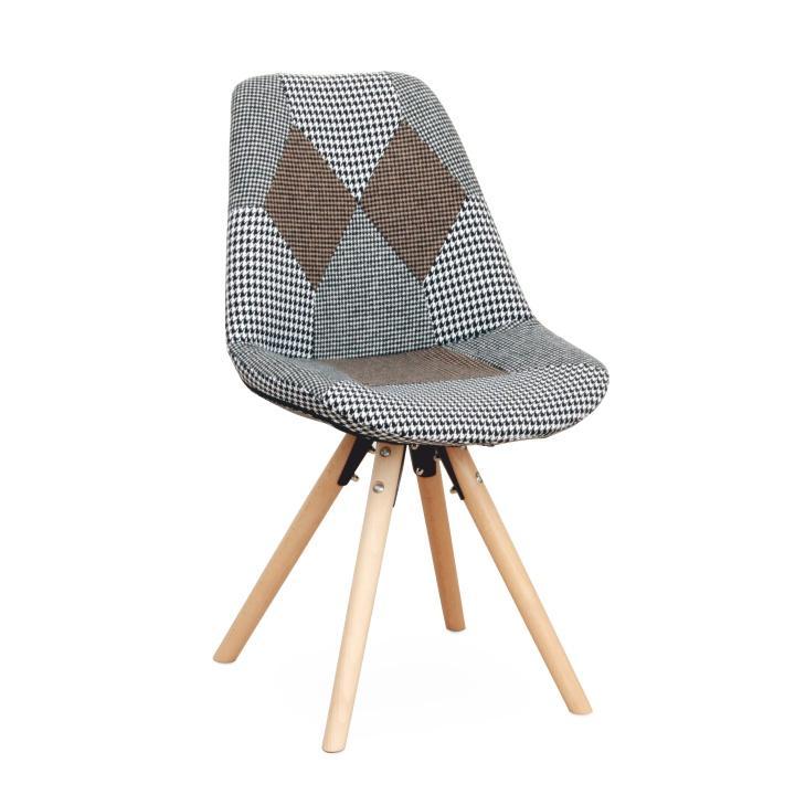Dizajnová stolička, látka patchwork, PEPITO TYP 10, na bielom pozadí