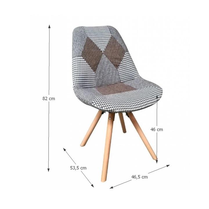Dizajnová stolička, látka patchwork, PEPITO TYP 10, s rozmermi