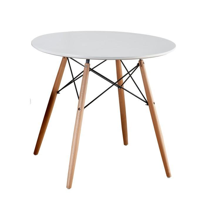 Jedálenský stôl, biela/buk, kov/ drevo, na bielom pozadí, GAMIN 90
