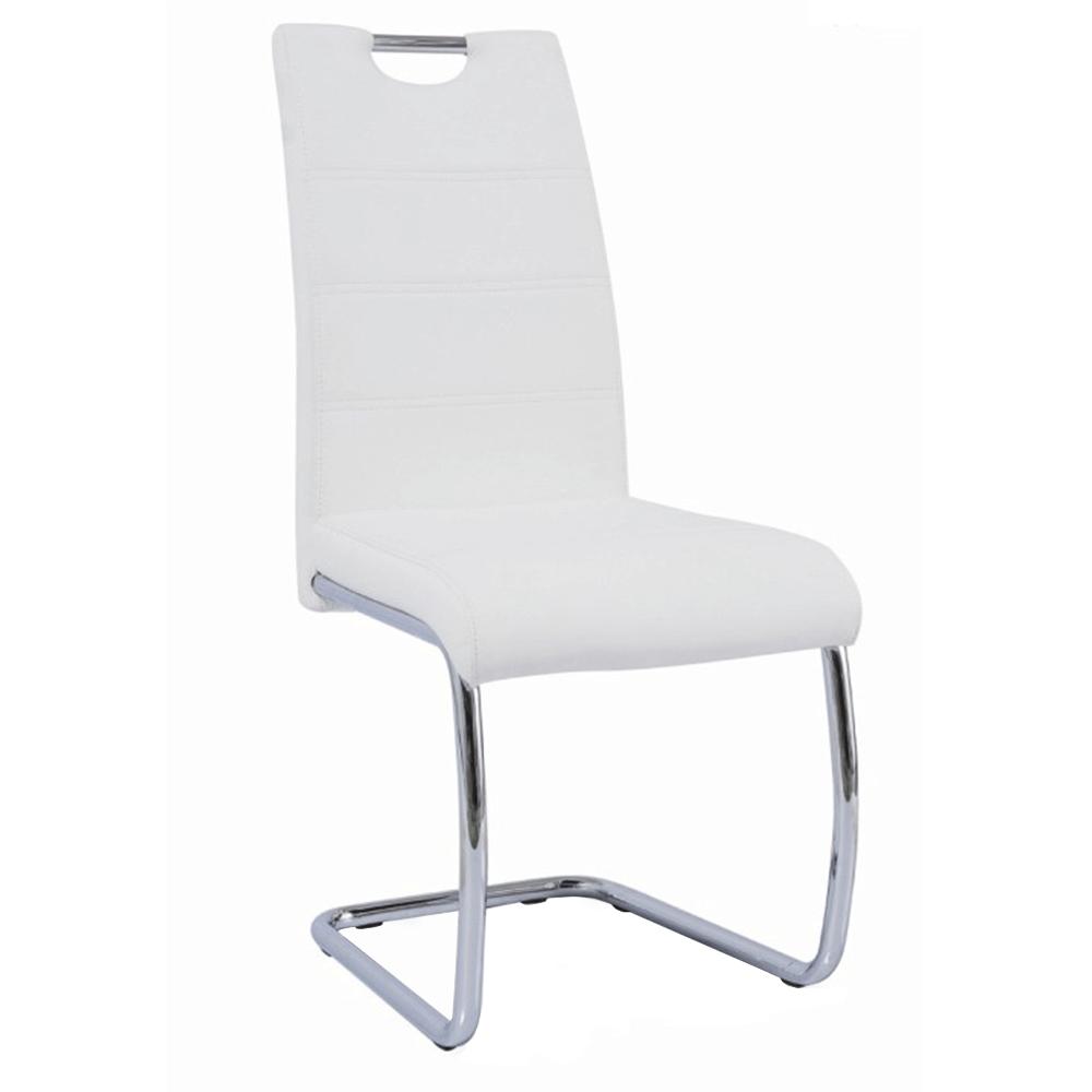 Scaun dining, alb/cusătură culoare deschisă, ABIRA NEW