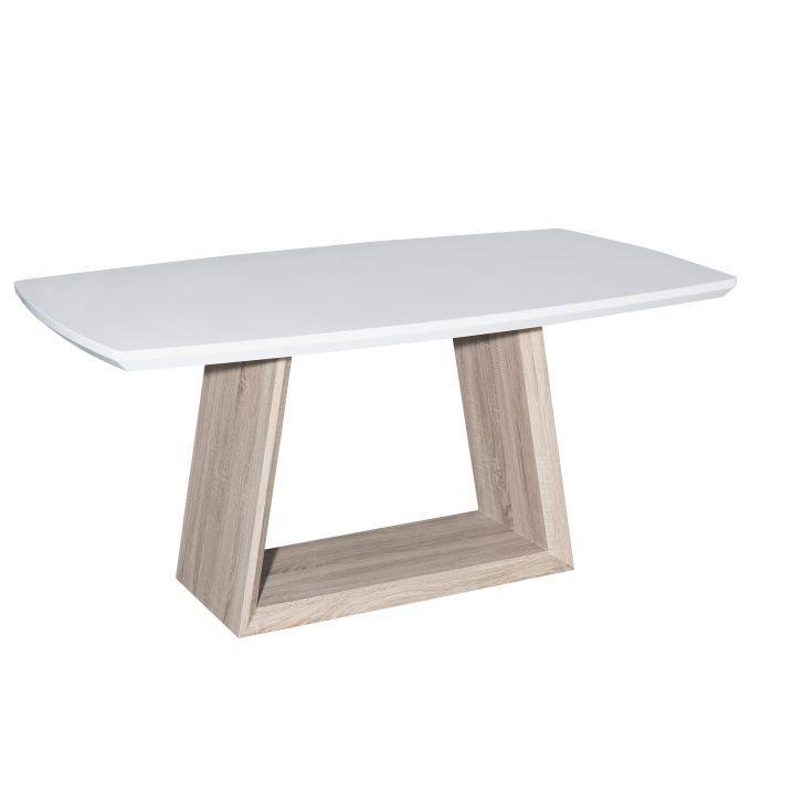Jedálenský stôl, MDF+dub, biela HG+dub sonoma, BARTO