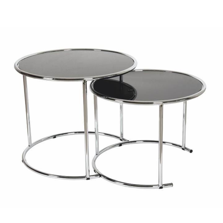 Sada 2 konferenčných stolíkov, chróm/čierne sklo, na bielom pozadí, MANUEL
