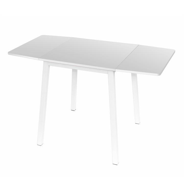 Jedálenský stôl, MDF fóliovaná/kov, biela, rozložený, MAURO