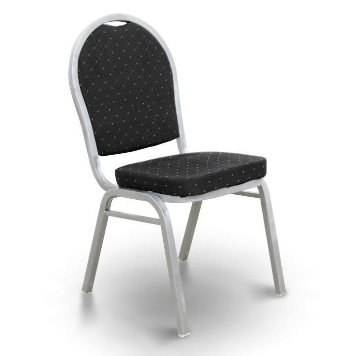 Stolička, stohovateľná, látka čierna /sivý rám, JEFF 2  NEW