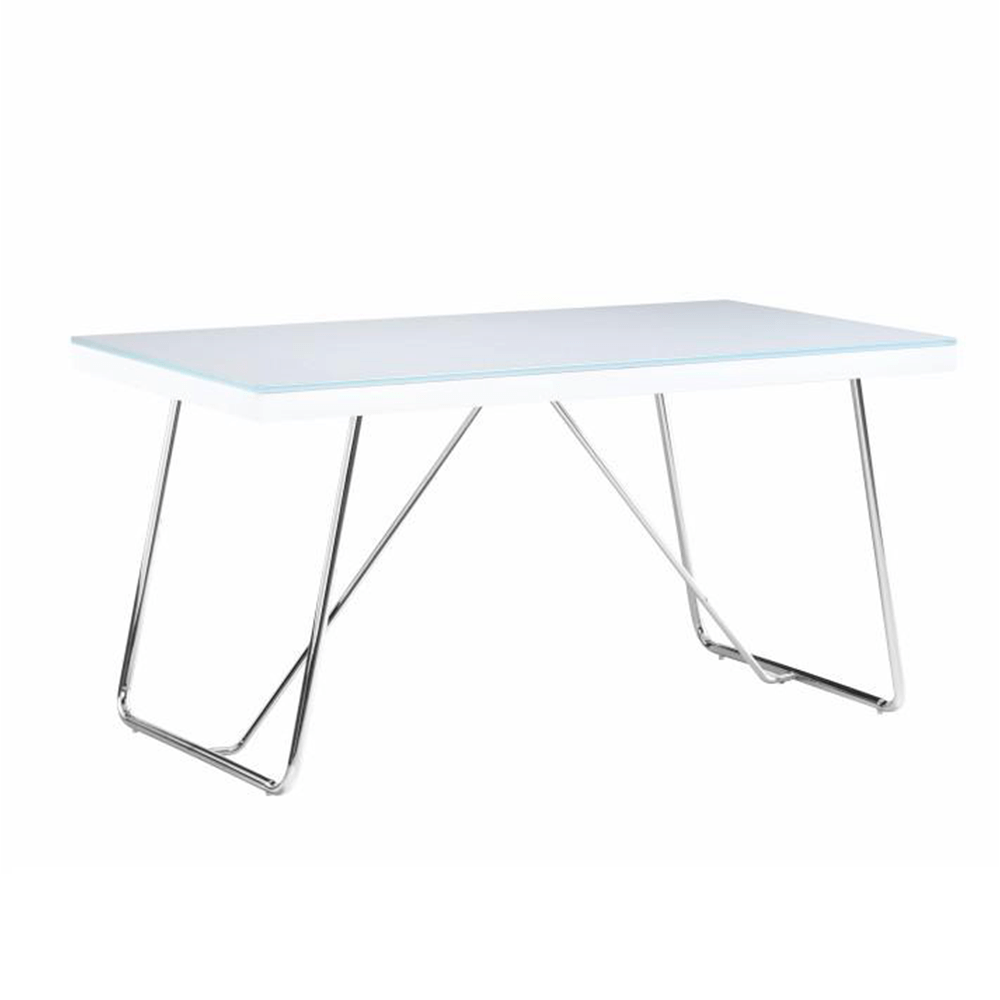Étkezőasztal, edzett üveg/fém, fehér/króm, AMI