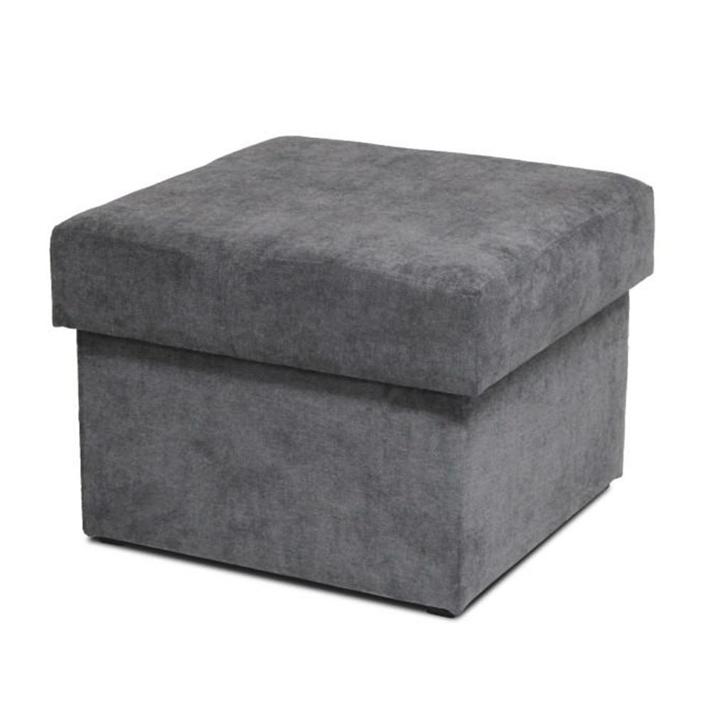 Taburet cu spaţiu de depozitare, material textil gri, IZA NEW